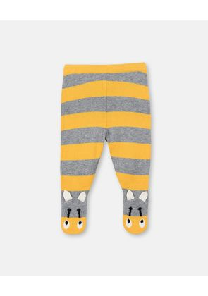Stella McCartney Kids Grey Speckled Striped Bumble Bee Trousers, Unisex, Size 1-3