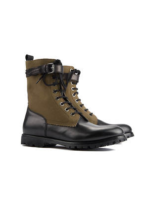 Barbanera Black and Khaki Junger Leather and Canvas Boots