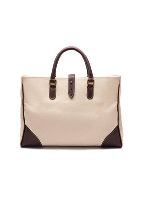 Ettinger Ivory Canvas Pursuits Piccadilly Tote Bag