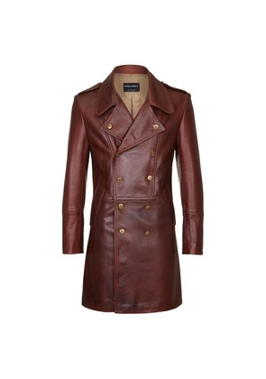 Cromford Leather Company Brown Eastwood Double-Breasted Leather Coat
