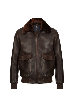 Cromford Leather Company Dark Brown Redford Leather Bomber Jacket