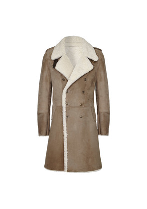 Cromford Leather Company Stone Eastwood Double-Breasted Shearling Coat