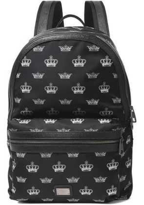 Dolce & Gabbana Woman Textured Leather-trimmed Printed Shell Backpack Black Size -