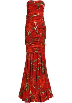 Dolce & Gabbana Woman Strapless Ruched Floral-print Crepe Gown Crimson Size 38