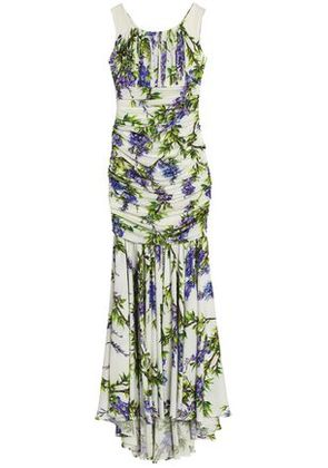 Dolce & Gabbana Woman Ruched Floral-print Stretch-silk Gown White Size 38