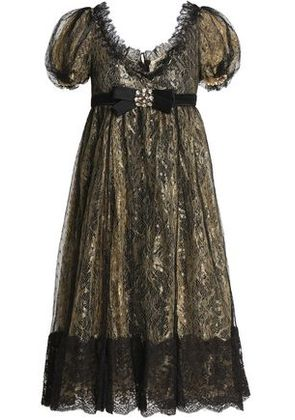 Dolce & Gabbana Woman Crystal And Bow-embellished Lace Dress Gold Size 40