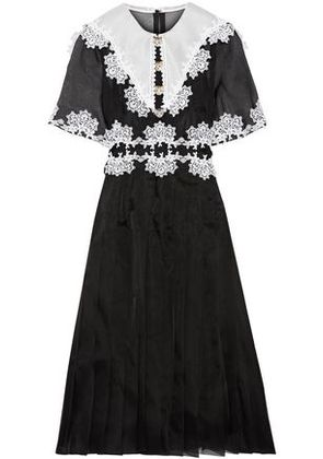 Dolce & Gabbana Woman Embellished Lace-trimmed Pleated Silk-blend Organza Dress Black Size 48