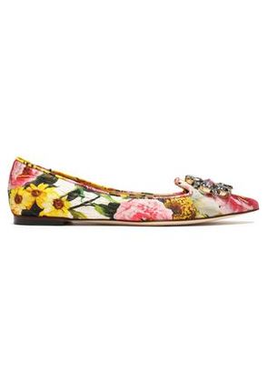 Dolce & Gabbana Woman Embellished Floral-print Jacquard Point-toe Flats Multicolor Size 35.5