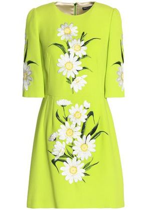 Dolce & Gabbana Woman Embroidered Neon Wool-crepe Mini Dress Lime Green Size 36