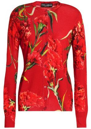 Dolce & Gabbana Woman Floral-print Wool Cardigan Red Size 36