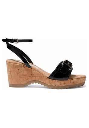 Stella Mccartney Woman Buckled Faux Patent-leather And Cork Wedge Sandals Black Size 35