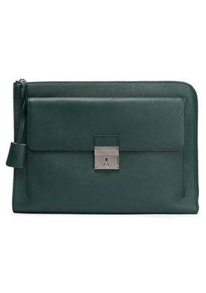 Dolce & Gabbana Woman Textured-leather Laptop Case Emerald Size -