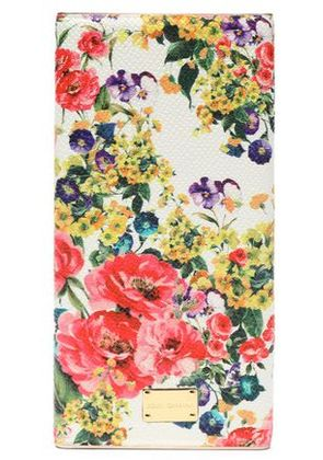 Dolce & Gabbana Woman Floral-print Textured Leather Phone Case White Size -
