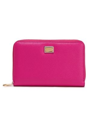 Dolce & Gabbana Woman Textured-leather Wallet Bright Pink Size -