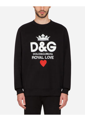 Dolce & Gabbana Sweaters - COTTON SWEATSHIRT WITH D & G PRINT BLACK