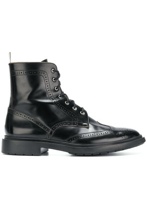 Thom Browne Shiny Leather Classic Wingtip Boot - Black