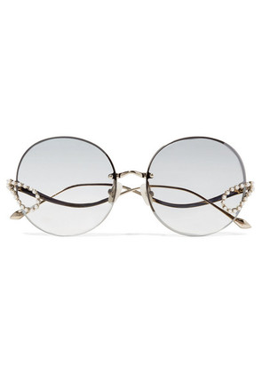 For Art's Sake - Passion Fruit Embellished Round-frame Stainless Steel Sunglasses - Silver