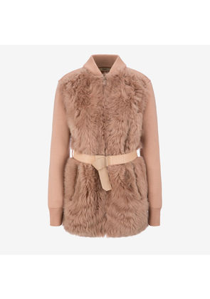 Bally Belted Shearling Cardigan Pink, Women's lamb shearling cardigan in cipria