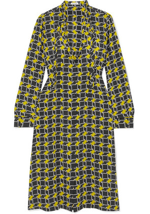 Tomas Maier - Pussy-bow Printed Silk Crepe De Chine Midi Dress - Yellow