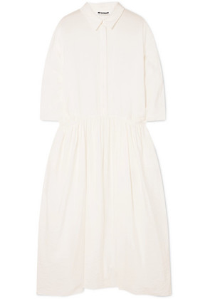 Jil Sander - Crinkled Silk-blend Midi Dress - White