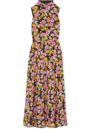 Saloni - Gemma Open-back Floral-print Silk Crepe De Chine Midi Dress - Pink