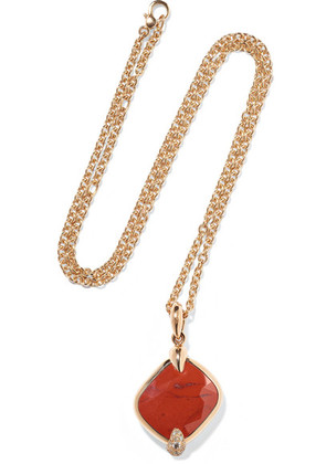 Pomellato - Ritratto 18-karat Rose Gold, Jasper And Diamond Necklace - one size