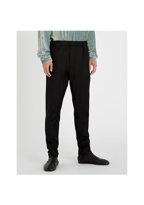 Elasticated-waist regular-fit wool-blend trousers