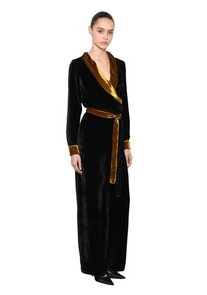 TWO TONE VELVET JUMPSUIT W/ BELT