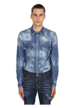 WESTERN BLEACHED DENIM SHIRT