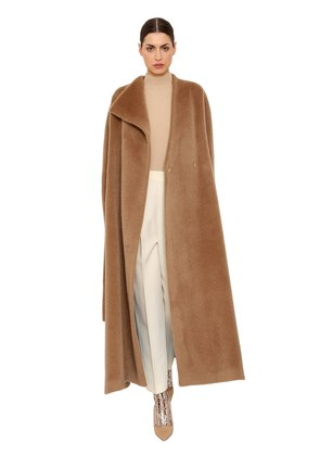 BRUSHED ALPACA & WOOL LONG COAT