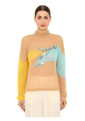 EMBELLISHED WOOL BLEND KNIT SWEATER