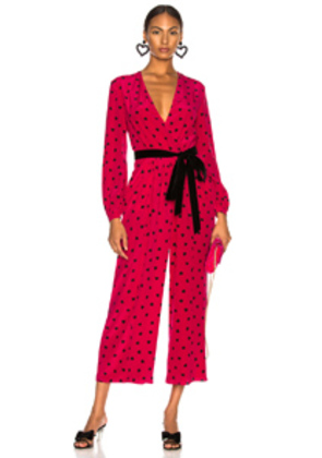 Valentino Crepe de Chine Pretty Hearts Jumpsuit in Polka Dots,Pink