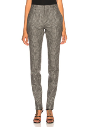 Saint Laurent Check Trousers in Checkered & Plaid,Gray