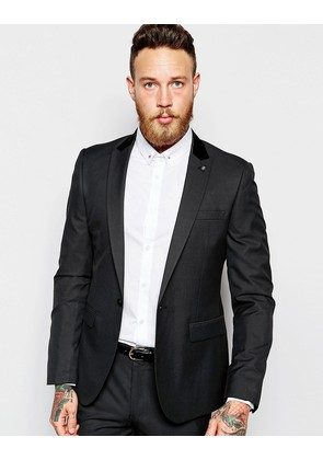 ASOS Slim Suit Jacket In Tonic - Black