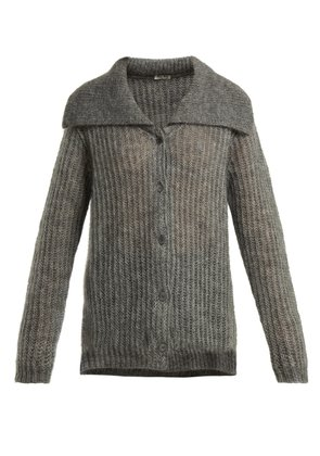 Mohair-blend ribbed-knit cardigan