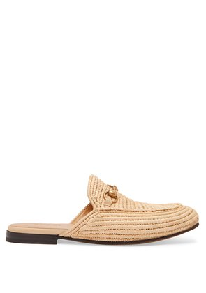 King woven-straw backless loafers