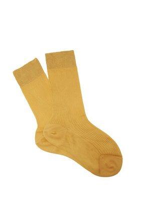 Ribbed-knit silk ankle socks