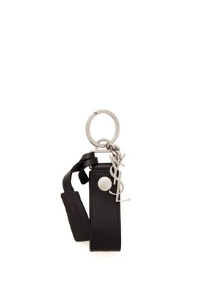 YSL-monogram leather key ring