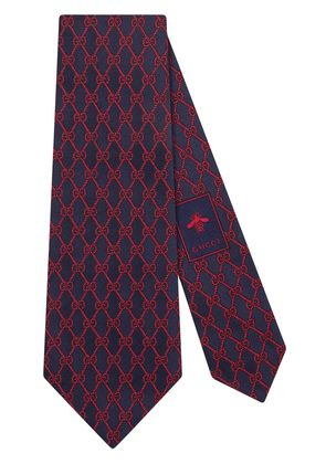 Gucci GG chains silk tie - Blue