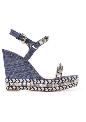 Christian Louboutin - Pyraclou 110 Spiked Lamé Wedge Sandals - Blue