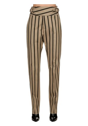 STRIPED COTTON BLEND PANTS