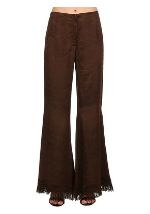 FLARED SATIN PANTS W/ FRINGED HEM