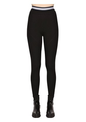 RIBBED KNIT STRETCH JERSEY LEGGINGS