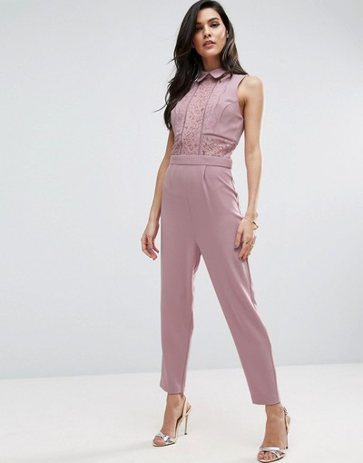 ac00bb4ed59 ASOS Shirt Detail Jumpsuit in Lace
