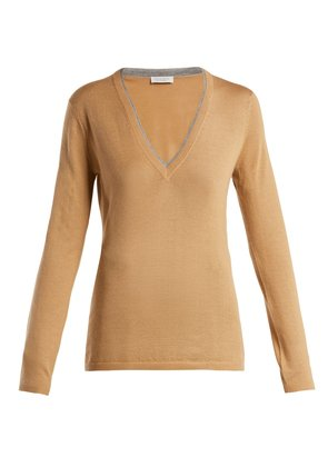 Lorenco cashmere and silk-blend sweater