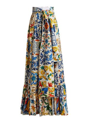 Majolica-print tiered cotton maxi skirt