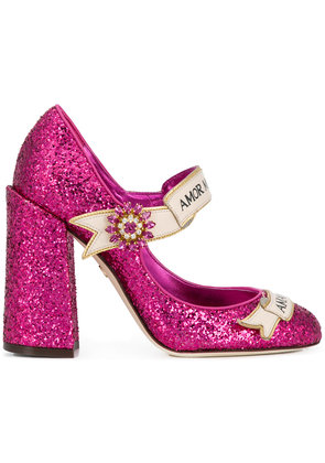 Dolce & Gabbana slogan embellished pumps - Pink & Purple