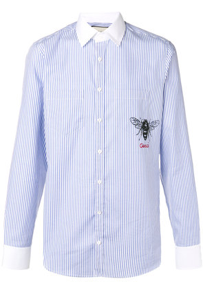 Gucci striped bee print shirt - Blue
