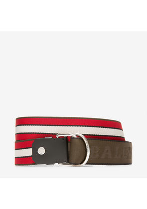 Bally Copper 40Mm Red, Men's woven fabric fixed/reversible belt in red/bone/forest green