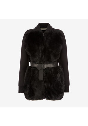 Bally Belted Shearling Cardigan Black, Women's lamb shearling cardigan in black